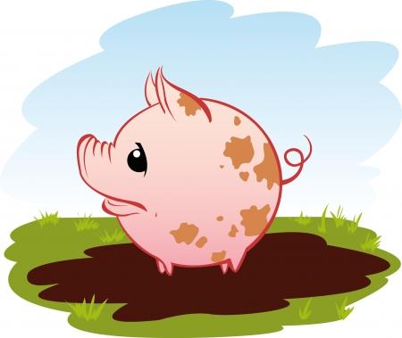 Little pog in een plas Stock Illustratie