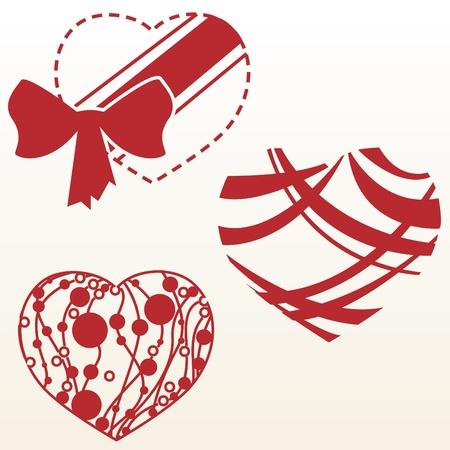 Set of three designs of heart shape