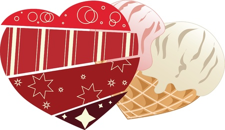 Valentine with heart in scrapbooking style and heart-shaped ice-cream  Stock Vector - 12495876