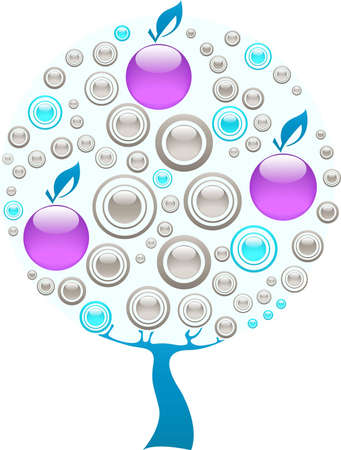 Apple tree made of purple, blue and grey gems Stock Vector - 12831043