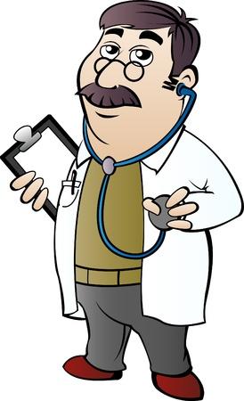 hospital cartoon: Medico con stetoscopio in stile cartoon Vettoriali