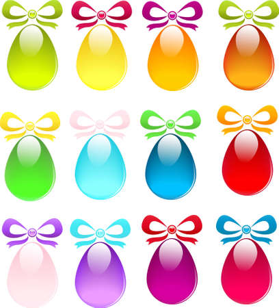 Set of Easter glossy colored eggs with ribbons Stock Vector - 12831041
