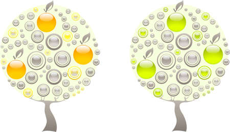 Apple tree made of grey, green and orange gems Stock Vector - 12831044