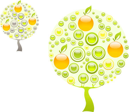 Apple tree made of green and orange gems Stock Vector - 12831045