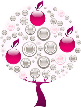 Apple tree made of purple and grey gems Stock Vector - 12831042