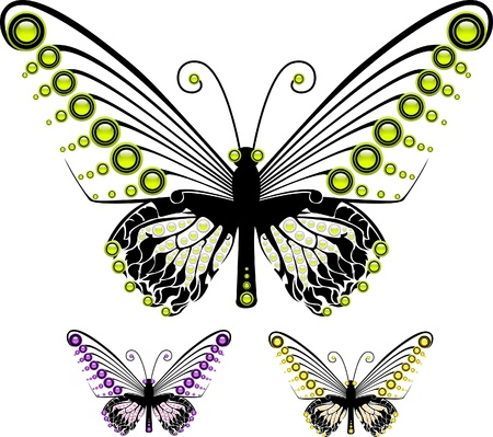 Set of colorful graphic butterflies in different colors