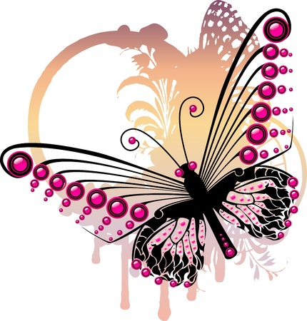 Purple graphic butterfly over subtle oval floral frame Vector