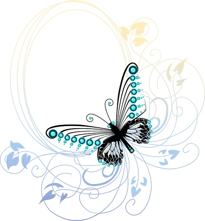 Blue graphic butterfly over subtle oval floral frame