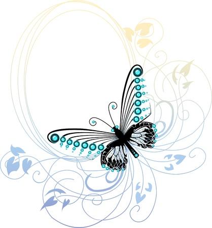 mariposa azul: Mariposa azul gráfica sobre sutiles marco floral ovalada