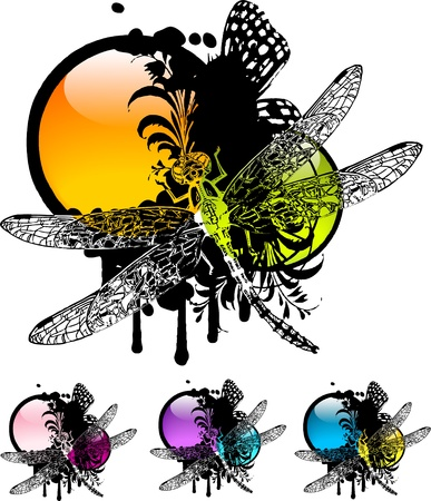 Set of colorful vignettes with floral elements and dragonfly Vector