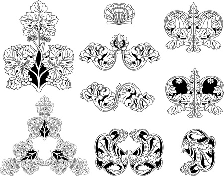 Floral ornament elements lineart Stock Vector - 14355503