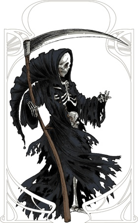 Grim Reaper in black cloak with scythe Illustration