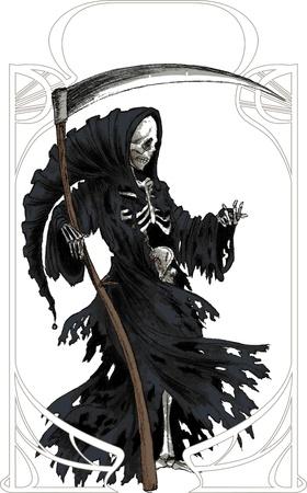 demon: Grim Reaper w czarnym płaszczu z kosą Ilustracja