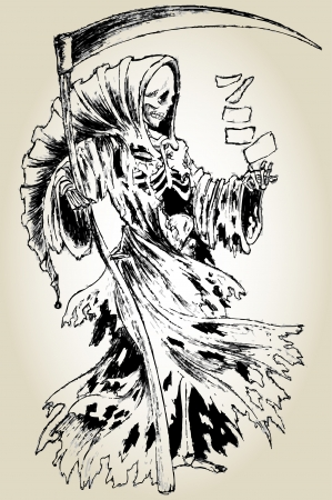 Old ink lineart grim reaper in cloak with scythe and a deck of playing cards Vettoriali