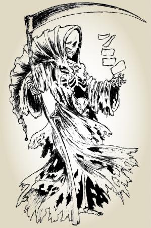 Oude inkt lineart grim reaper in mantel met zeis en een dek van speelkaarten