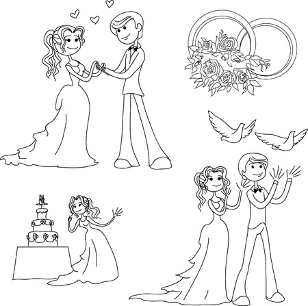 Lineart wedding theme in cartoon style Illustration