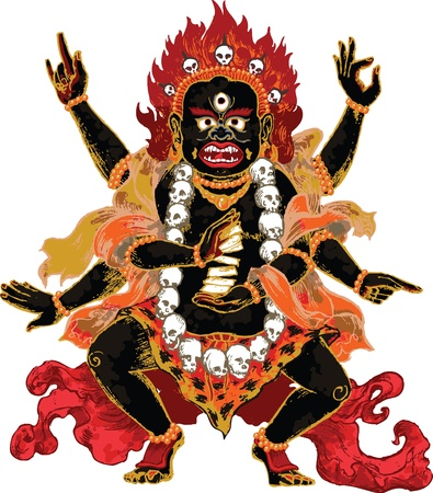 black gods: Ornate indian demon in red and amber colors with playing cards Illustration