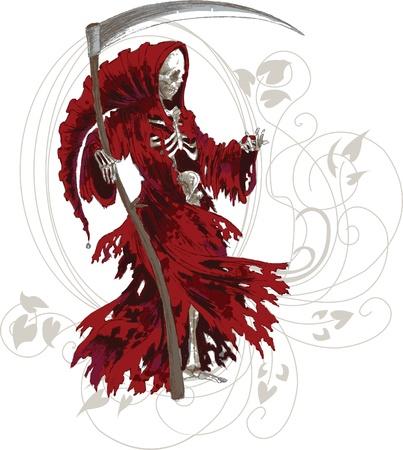 Grim Reaper in rode mantel met zeis Vector Illustratie