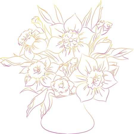 daffodil bouquet line art Vector
