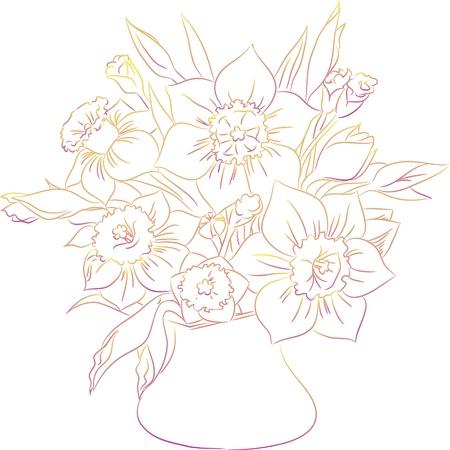 daffodils: daffodil bouquet line art Illustration