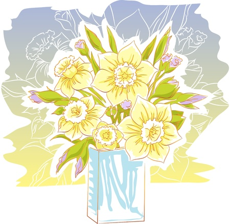 daffodil bouquet illustration Vector