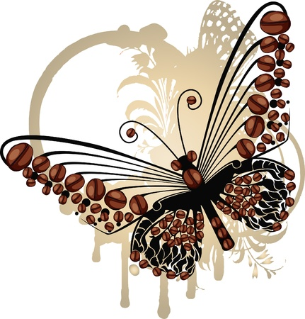 Brown graphic butterfly over subtle oval floral frame with coffee beans  Stock Vector - 15913563