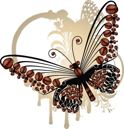 planta de frijol: Mariposa Brown gráfico más sutil floral marco ovalado con granos de café