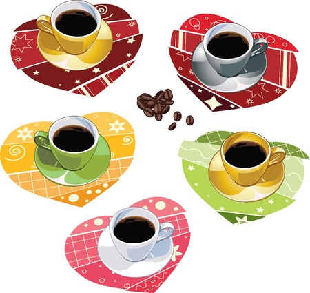 Set of coffee cups upon scrapbook towels  Illustration