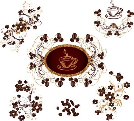 planta de frijol: conjunto de diseño floral tema frijol elementos café Vectores