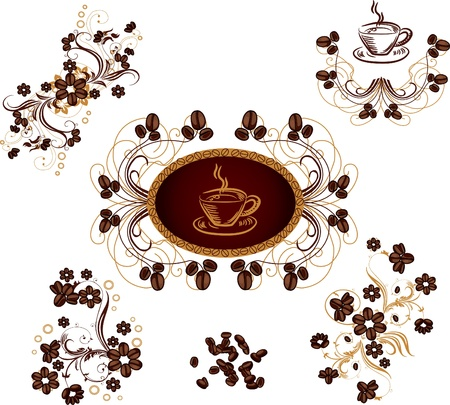 set of floral design elements coffee bean theme