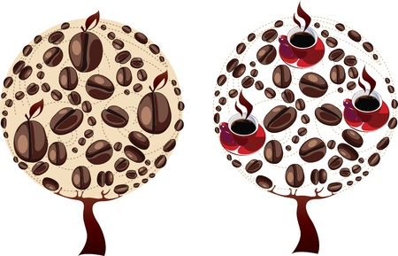 coffee tree: Trees made of coffee beans and coffee cups  Illustration