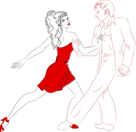 jive: Couple dancing latino line art