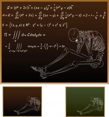 Human skeleton chalk sketch on school blackboard