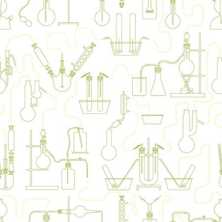 examenes de laboratorio: La ciencia química textura de fondo sin fisuras en verde