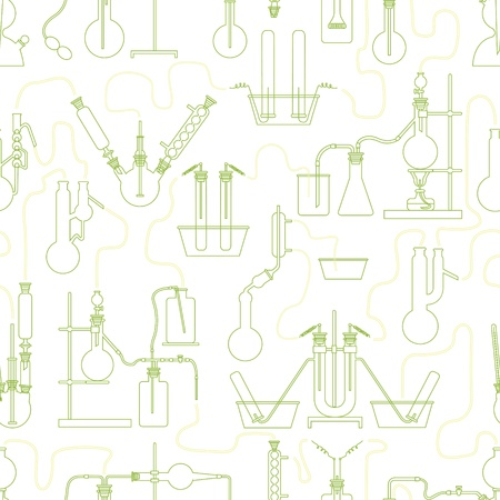 Science chemistry seamless background texture in green