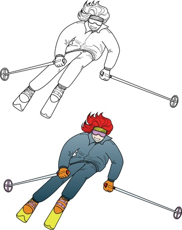 slalom: Skiing red haired girl in cartoon style, line-art and color Illustration