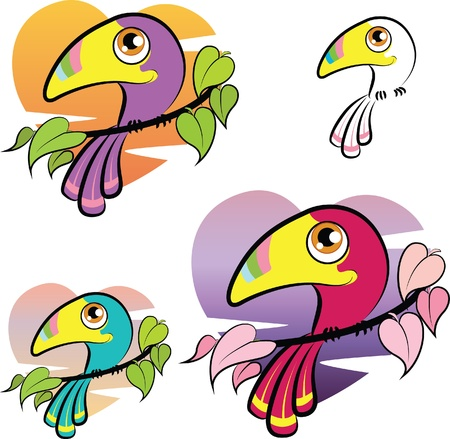 Cute colorful cartoon toucan over a heart shaped background, color variations Stock Vector - 17980622