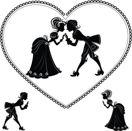 Vintage victorian silhouettes of a kissing couple in a heart shape valentine s card Stock Vector - 17980623