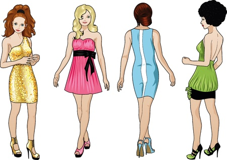 Four beautiful Caucasian race ladies with stylish hairdo and beautiful smile in colorful cocktail dresses in realistic cartoon style Vector
