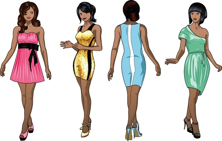 Four beautiful Negroid and mixed race ladies with stylish hairdo and beautiful smile in colorful cocktail dresses in realistic cartoon style Vector