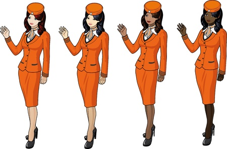 Set of 4 stewardesses in orange suits, skirts and capes