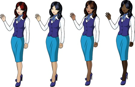 Set of 4 stewardesses in blue skirts and jackets Vector