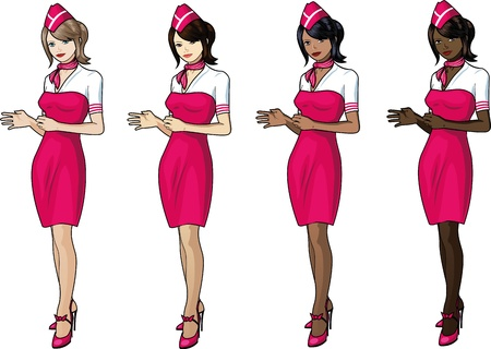 indian professional: Set of 4 stewardesses in pink skirts and capes Illustration