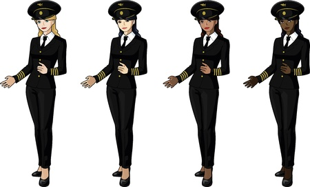 Set of 4 female airplane pilots in suits Illustration