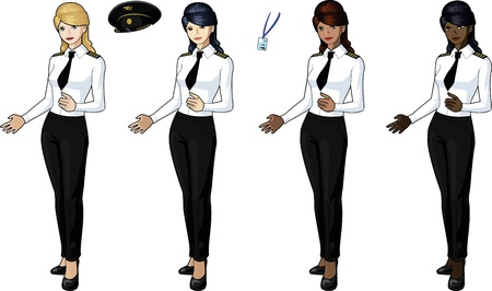 Set of 4 female airplane pilots Vector