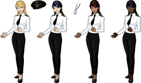 flight crew: Set of 4 female airplane pilots Illustration