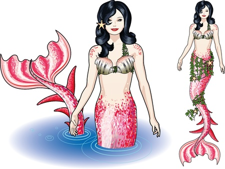 Mermaid in the water and isolated figure colored pink and red Vector