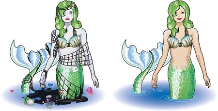 Mermaid in the water and isolated figure colored green, polluted and saved Vector