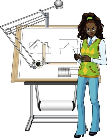 arquitecto caricatura: Arquitecto de sexo femenino de la raza africana que presenta su proyecto Vectores
