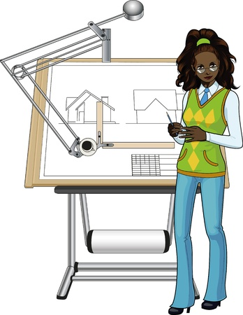 Female architect of african race presenting her blueprint Vector
